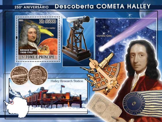 Discovery of Halley Comet s/s - Issue of Sao Tome and Principe postage stamps