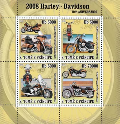 Motorcycles Harley Davidson 4v - Issue of Sao Tome and Principe postage stamps