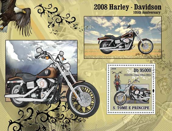 Motorcycles Harley Davidson s/s - Issue of Sao Tome and Principe postage stamps