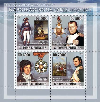 Napoleon 4v - Issue of Sao Tome and Principe postage stamps