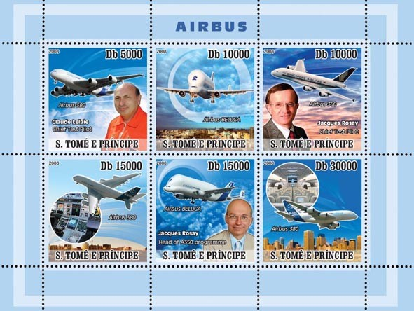 Aircraft Airbus - Issue of Sao Tome and Principe postage stamps