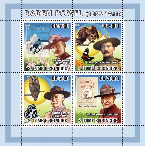 Baden Powell, Scouts, Owls, Butterflies - Issue of Sao Tome and Principe postage stamps