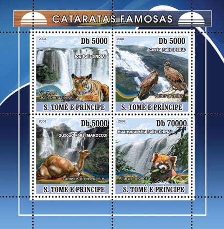 Waterfalls and African Fauna - Issue of Sao Tome and Principe postage stamps