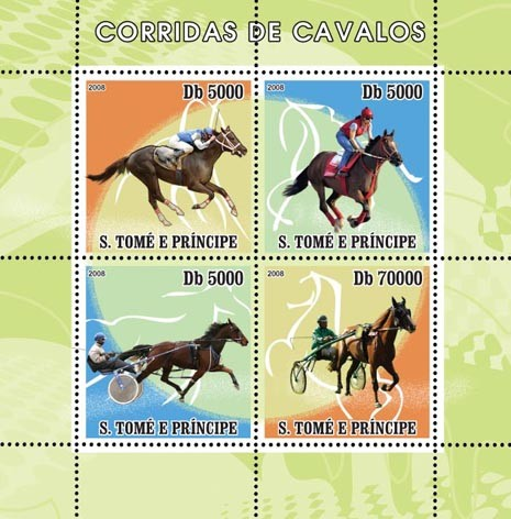 Horse Racing - Issue of Sao Tome and Principe postage stamps