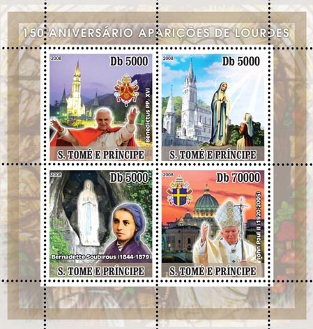 Lourdes, Popes J.P. II and Benedict XVI - Issue of Sao Tome and Principe postage stamps