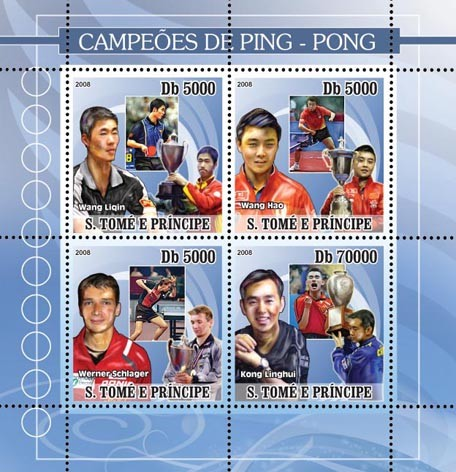 Table-tennis champions (blue) - Issue of Sao Tome and Principe postage stamps