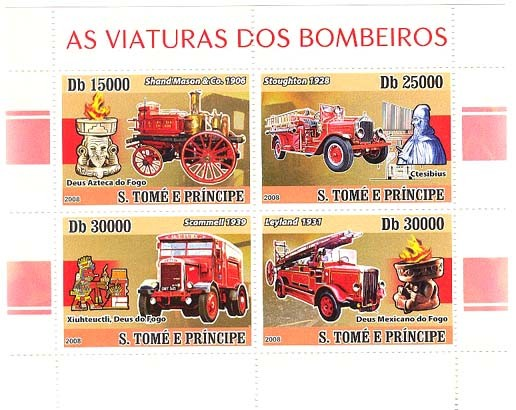 Fire Engines 4v - Issue of Sao Tome and Principe postage stamps