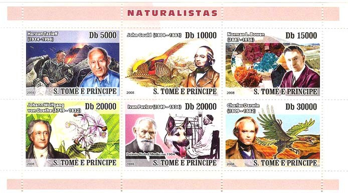Naturalists (Tazief (Vulcan), John Gould (bird), Bowen (minerals), Goethe (orchid), Pavlov (dog), Darwin (prehistory) - Issue of Sao Tome and Principe postage stamps