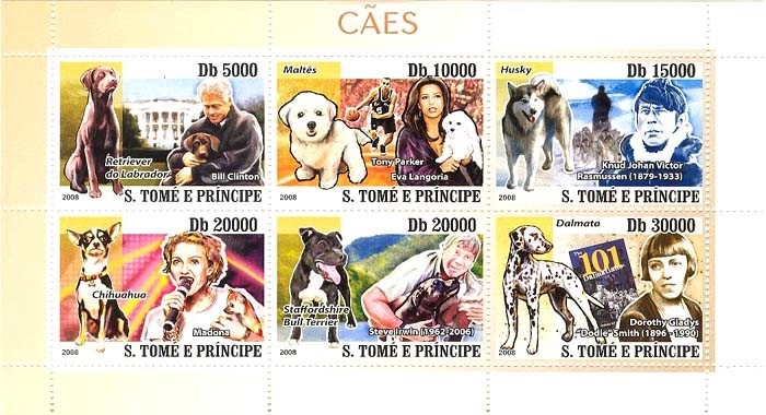 Dogs & their masters (Clinton, Rasmussen, Madonna, Irwin, Gladys) - Issue of Sao Tome and Principe postage stamps