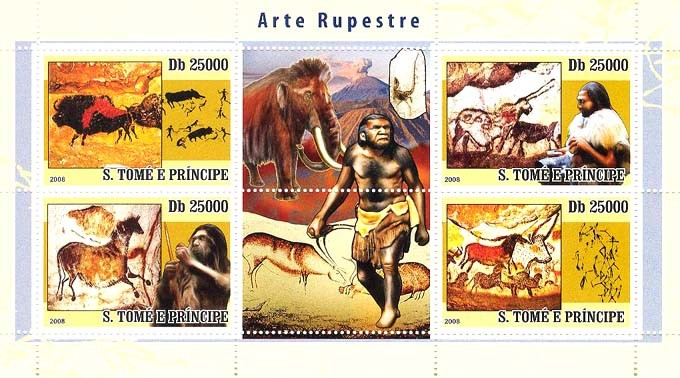 Rupestry Art, prehistoric people & animals - Issue of Sao Tome and Principe postage stamps
