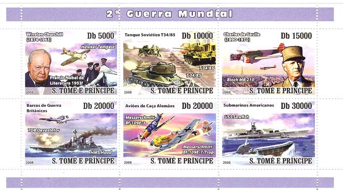 IInd World War (Churchill, De Gaulle, military ships & plains) - Issue of Sao Tome and Principe postage stamps