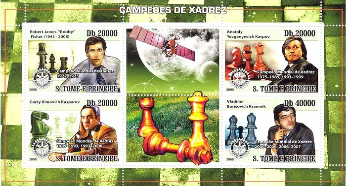 Chess Champions, Rotary, satellite - Issue of Sao Tome and Principe postage stamps