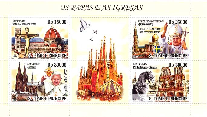 Popes (J.P.II & Benedict XVI) & Churches - Issue of Sao Tome and Principe postage stamps