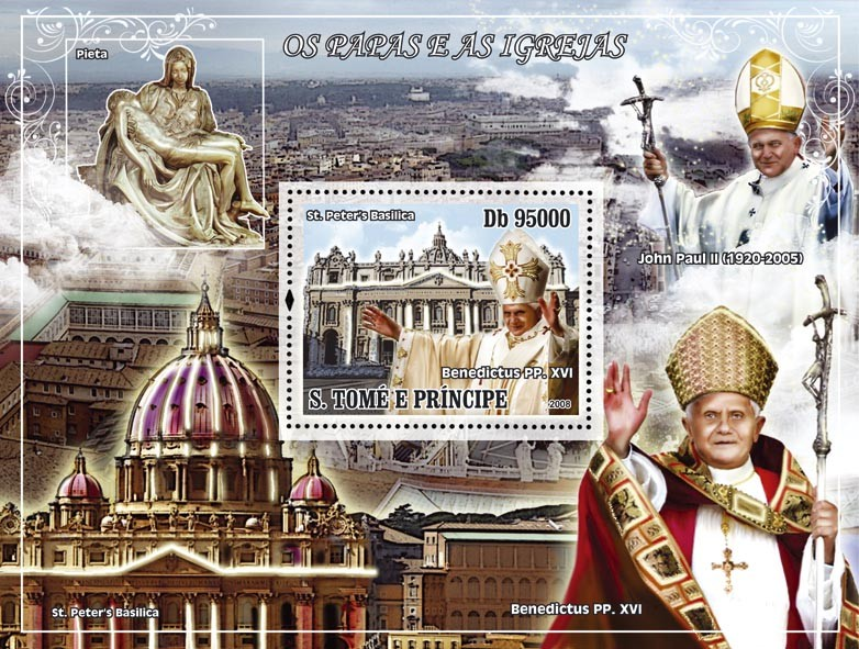 Pope - Benedict XVI & St.Peter's Basilica s/s - Issue of Sao Tome and Principe postage stamps