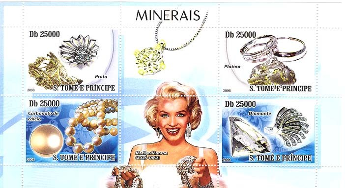 Minerals & Bijou, Marilyn Monroe - Issue of Sao Tome and Principe postage stamps