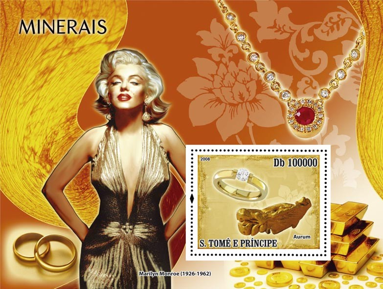 Minerals & Bijou, Marilyn Monroe s/s - Issue of Sao Tome and Principe postage stamps
