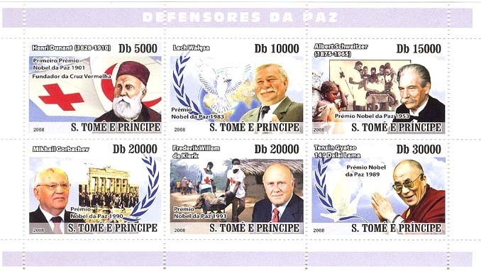 Peacekeepers (Red Cross, Walesa, Schweitzer, Dalai Lama) - Issue of Sao Tome and Principe postage stamps