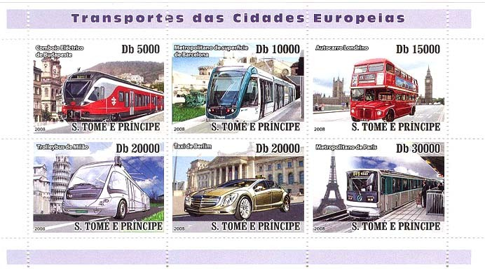 European City Transports (trains, bus, auto taxi) - Issue of Sao Tome and Principe postage stamps