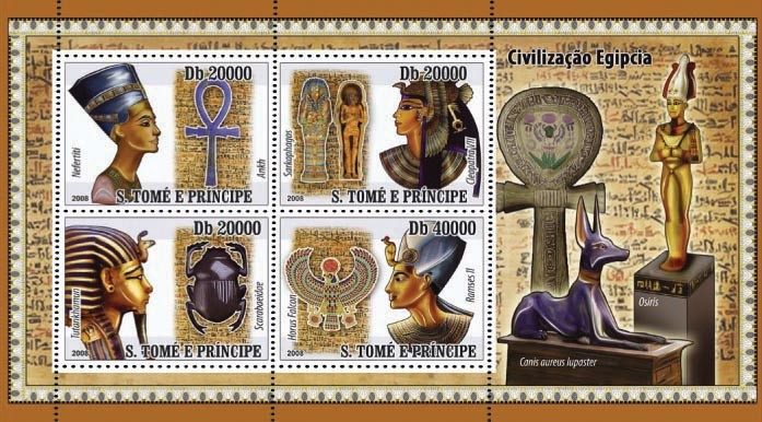 Civilization of Egypt 4v - Issue of Sao Tome and Principe postage stamps