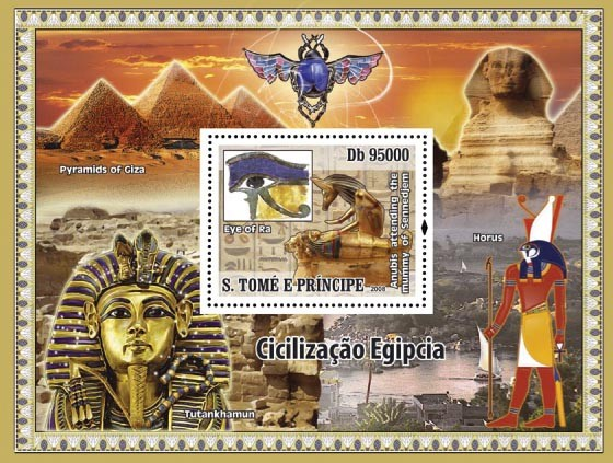 Civilization of Egypt s/s - Issue of Sao Tome and Principe postage stamps