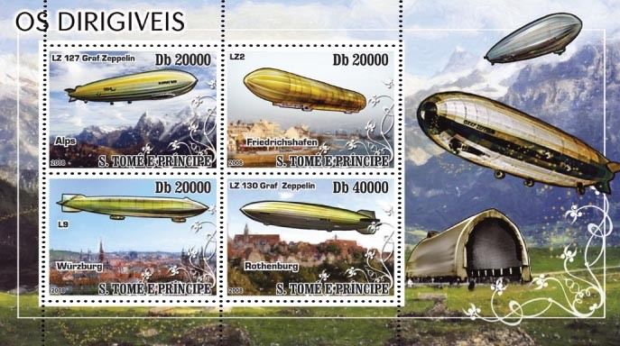 Dirigables models & places 4v - Issue of Sao Tome and Principe postage stamps
