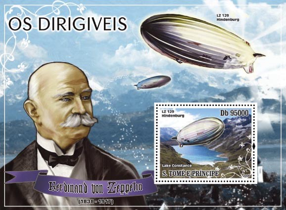 Dirigables ( F.von Zeppelin ) s/s - Issue of Sao Tome and Principe postage stamps