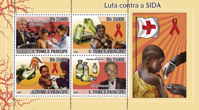 Fight AIDS ( W.J.Clinton, H.Korpowski ) 4v - Issue of Sao Tome and Principe postage stamps