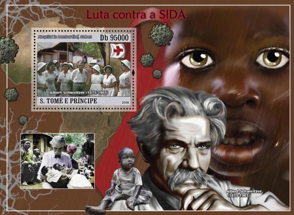 Fight AIDS ( A.Schweitzer, Red Cross ) s/s - Issue of Sao Tome and Principe postage stamps