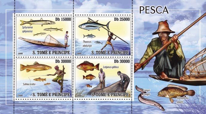 Fishing 4v - Issue of Sao Tome and Principe postage stamps