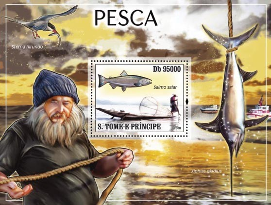 Fishing s/s - Issue of Sao Tome and Principe postage stamps
