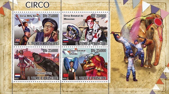 Circus (Great Britain, Russia, China) 4v - Issue of Sao Tome and Principe postage stamps