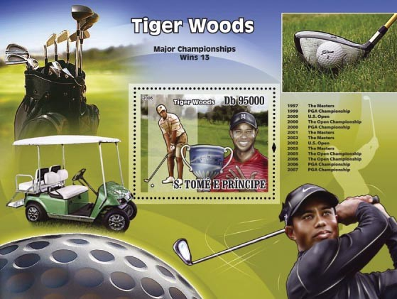 Golf ( Tiger Woods ) s/s - Issue of Sao Tome and Principe postage stamps