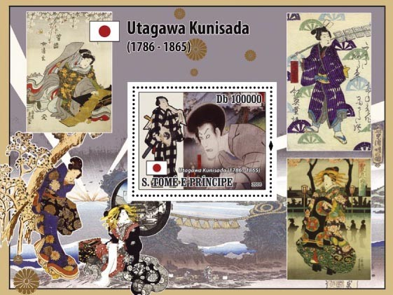 Japanese paintings ( Utagawa Kunisada ) s/s - Issue of Sao Tome and Principe postage stamps