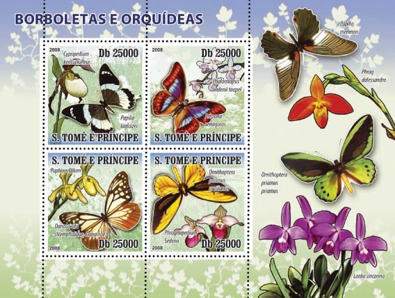 Butterflies & Orchids 4v - Issue of Sao Tome and Principe postage stamps