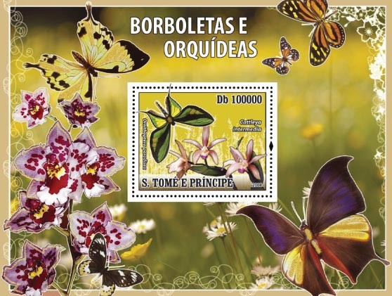 Butterflies & Orchids s/s - Issue of Sao Tome and Principe postage stamps