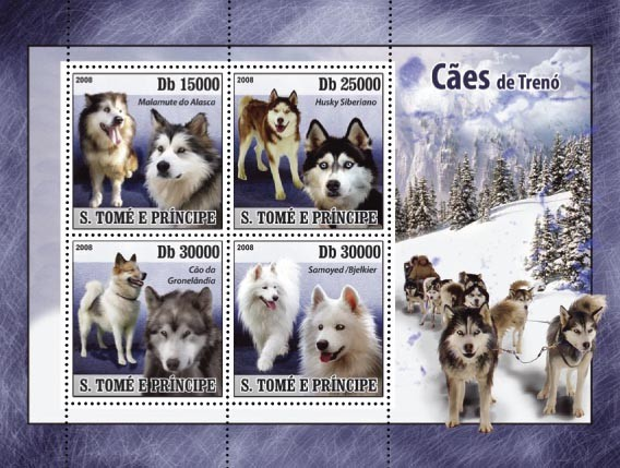 Sledge dogs 4v - Issue of Sao Tome and Principe postage stamps