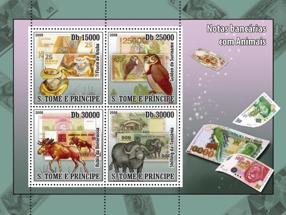 Animals on banknotes ( Snake, Owl, Elk, Buffalo ) 4v - Issue of Sao Tome and Principe postage stamps