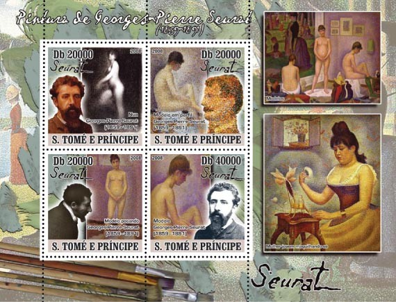 Paintings of Georges-Pierre Seurat ( 1858-1891 ) 4v - Issue of Sao Tome and Principe postage stamps