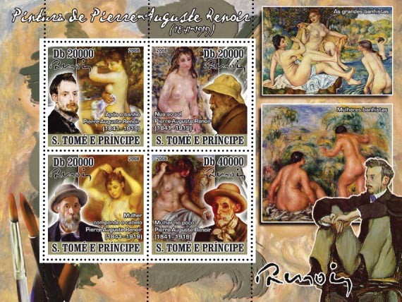 Paintings of Pierre-Auguste Renoir( 1841-1919 ) 4v - Issue of Sao Tome and Principe postage stamps