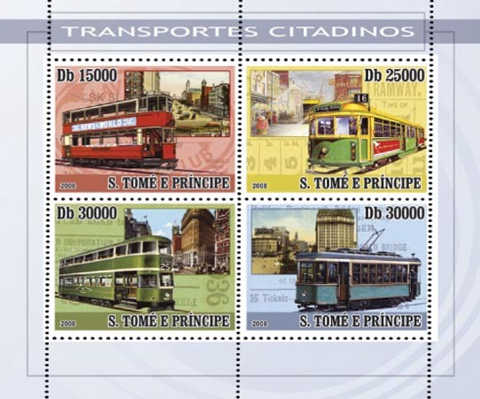 City transport - trams 4v - Issue of Sao Tome and Principe postage stamps