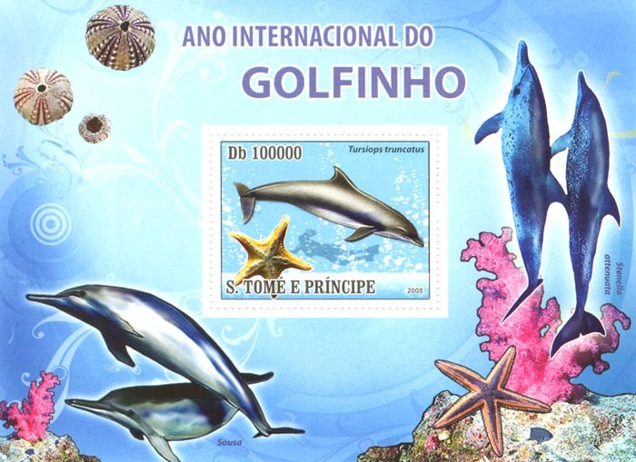 International Dolphins Year, sea stars,diving - Issue of Sao Tome and Principe postage stamps