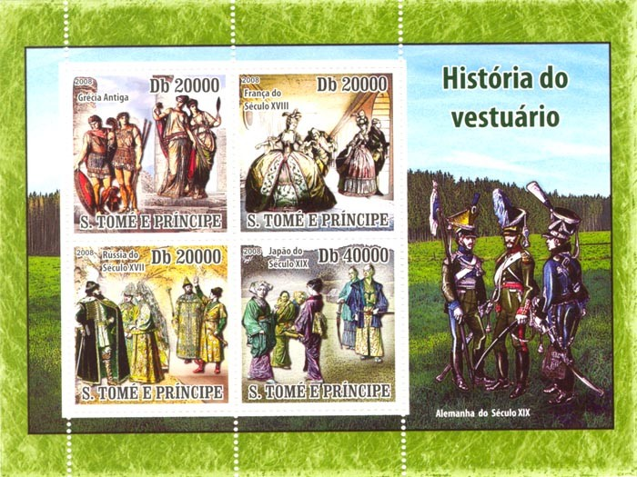 History of costumes - Issue of Sao Tome and Principe postage stamps