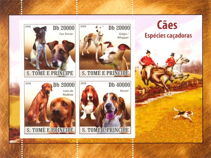 Hunting Dogs - Issue of Sao Tome and Principe postage stamps