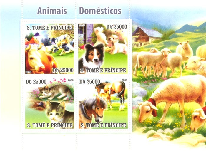 Domestic Animals, cow,dog,cat,horse - Issue of Sao Tome and Principe postage stamps