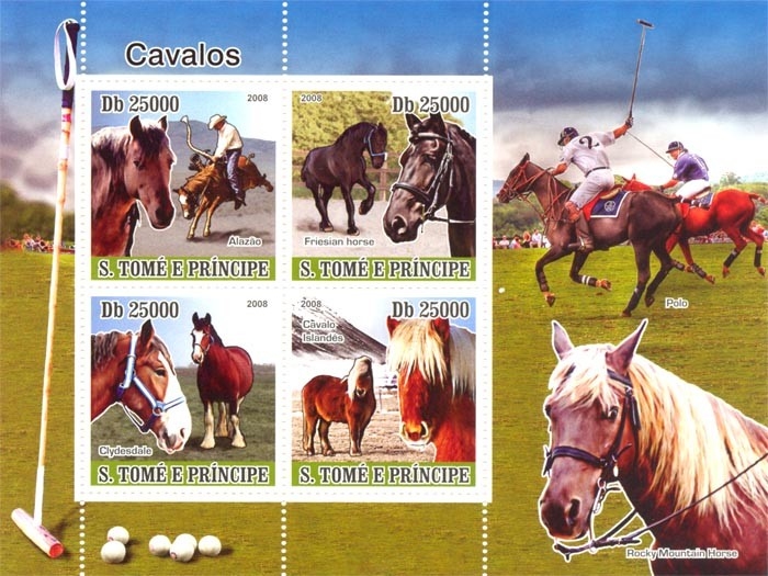 Horses - Issue of Sao Tome and Principe postage stamps