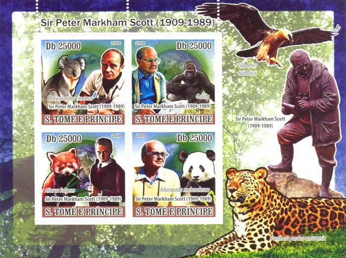 Animals, Sir.Peter Markham Scoott ( 1909-1989) - Issue of Sao Tome and Principe postage stamps