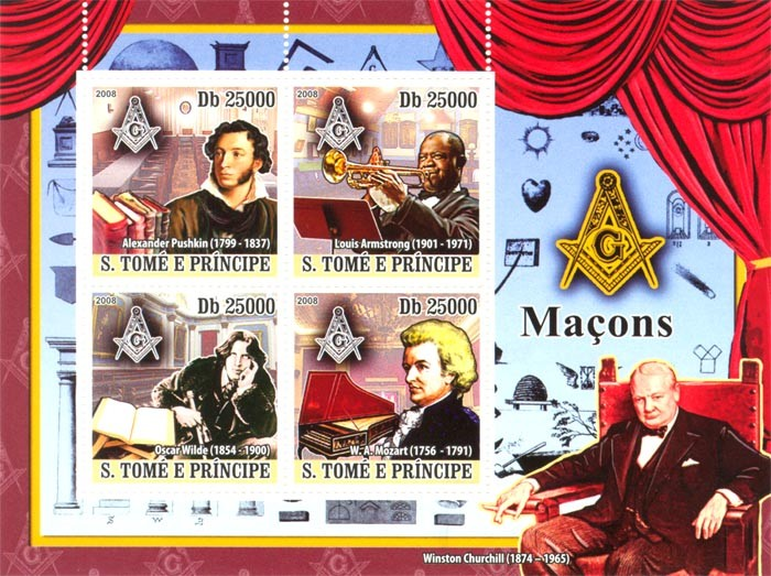 Famous persons of Masonic Lodge, A.Pushkin, L.Amstrong, O.Wilde, W.A.Mozart - Issue of Sao Tome and Principe postage stamps