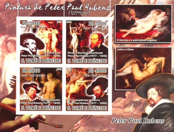 Paintings of Peter Paul Rubens (1577-1640) - Issue of Sao Tome and Principe postage stamps