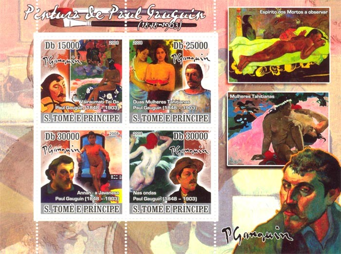 Paintings of Paul Gauguin (1848-1903) - Issue of Sao Tome and Principe postage stamps