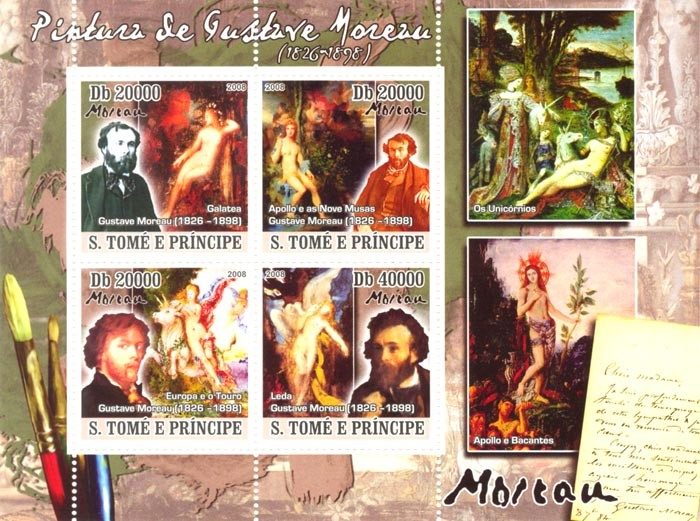 Paintings of Gustave Moreau (1577-1640) - Issue of Sao Tome and Principe postage stamps